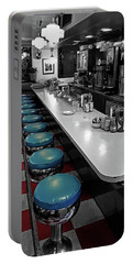 Broadway Diner Chairs Portable Battery Charger by Christopher McKenzie