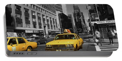 New York Broadway - Yellow Taxi Cabs Portable Battery Charger