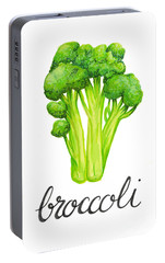 Portable Battery Charger featuring the painting Broccoli by Cindy Garber Iverson