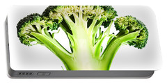 Broccoli Cutaway On White Portable Battery Charger by Johan Swanepoel