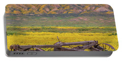 Broken Wagon In A Field Of Flowers Portable Battery Charger