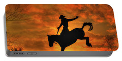 Bronco Riding Sunset Portable Battery Charger
