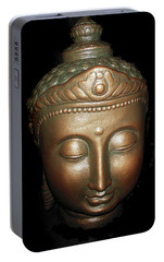 Portable Battery Charger featuring the photograph Bronze Buddha Head by Joan Reese