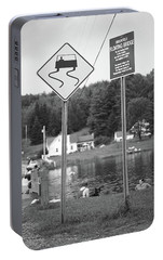 Portable Battery Charger featuring the photograph Brookfield, Vt - Floating Bridge 2 Bw by Frank Romeo