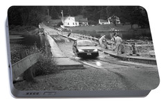 Portable Battery Charger featuring the photograph Brookfield, Vt - Floating Bridge 3 Bw by Frank Romeo