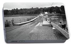 Portable Battery Charger featuring the photograph Brookfield, Vt - Floating Bridge 5 Bw by Frank Romeo