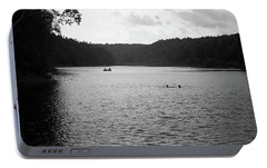 Portable Battery Charger featuring the photograph Brookfield, Vt - Swimming Hole Bw 2 by Frank Romeo