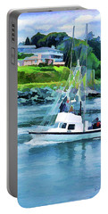 Brookings Boat Oil Painting Portable Battery Charger by Wendy McKennon