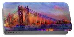 Portable Battery Charger featuring the digital art Brooklyn Bridge by Iowan Stone-Flowers