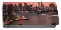 Brooklyn Bridge Over New York Skyline At Sunset Portable Battery Charger