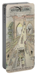 Portable Battery Charger featuring the photograph Brooklyn Bridge Trolley Right Of Way Controversy 1897 by Daniel Hagerman