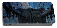 Portable Battery Charger featuring the photograph Brooklyn Bridge Webs by Chris Lord