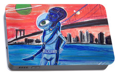 Portable Battery Charger featuring the painting Brooklyn Play Date by Similar Alien