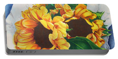 Portable Battery Charger featuring the painting Brooklyn Sun by Angela Armano