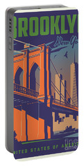 Brooklyn Vintage Travel Poster Portable Battery Charger