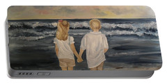 Portable Battery Charger featuring the painting Brother And Sister by Julie Brugh Riffey
