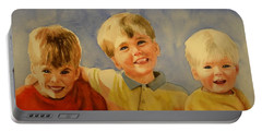 Portable Battery Charger featuring the painting Brothers by Marilyn Jacobson