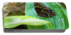 Brown And Blue Butterfly Portable Battery Charger
