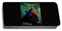 Brown Bear Resting In Bush Portable Battery Charger by Cheryl Poland