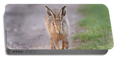 Brown Hare Approaching Down Track Portable Battery Charger