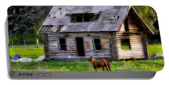 Brown Horse And Old Log Cabin Portable Battery Charger