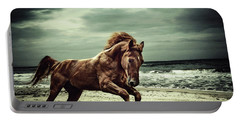 Brown Horse Galloping On The Coastline Portable Battery Charger