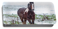 Brown Horse Galloping Through The Snow Portable Battery Charger