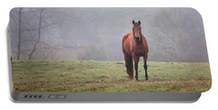 Brown Horse In Virginia Fog Portable Battery Charger