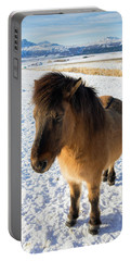 Portable Battery Charger featuring the photograph Brown Icelandic Horse In Winter In Iceland by Matthias Hauser