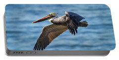 Brown Pelican In Flight Portable Battery Charger