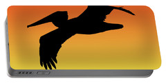 Brown Pelican In Flight Silhouette At Sunset Portable Battery Charger