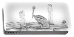 Brown Pelican Portable Battery Charger by Patricia Hiltz