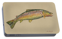 Brown Trout Jumping Portable Battery Charger by Juan Bosco