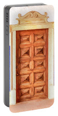 Brown Wood Door Of Old World Europe Portable Battery Charger