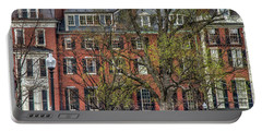 Portable Battery Charger featuring the photograph Brownstone Panoramic - Beacon Street Boston by Joann Vitali