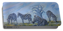 Portable Battery Charger featuring the painting Browsing Zebras by Anthony Mwangi
