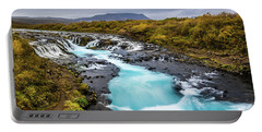 Portable Battery Charger featuring the photograph Bruarfoss In The Gloom by Rikk Flohr