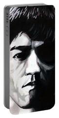 Bruce Lee Portrait Portable Battery Charger by Alban Dizdari