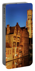 Bruges Belfry At Night Portable Battery Charger