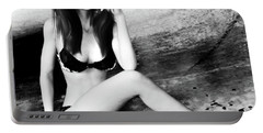 Brunette In Lingerie Black And White Portable Battery Charger