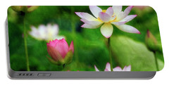 Portable Battery Charger featuring the photograph Brushed Lotus by Edward Kreis
