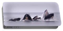 Bubble Feeding Humpbacks Portable Battery Charger by Darcy Michaelchuk