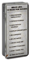 Buce Lee 10 Rules Of Success Portable Battery Charger