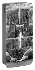 Buckingham Fountain Closeup Black And White Portable Battery Charger by Christopher Arndt