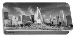 Buckingham Fountain Skyline Panorama Black And White Portable Battery Charger by Christopher Arndt
