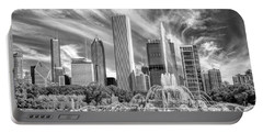 Buckingham Fountain Skyscrapers Black And White Portable Battery Charger by Christopher Arndt