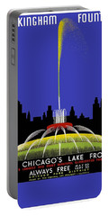 Buckingham Fountain Vintage Travel Poster Portable Battery Charger
