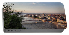 Budapest City And Danube River At Sunset Portable Battery Charger