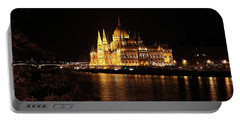 Portable Battery Charger featuring the digital art Budapest - Parliament by Pat Speirs