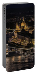 Budapest View At Night Portable Battery Charger by Jaroslaw Blaminsky